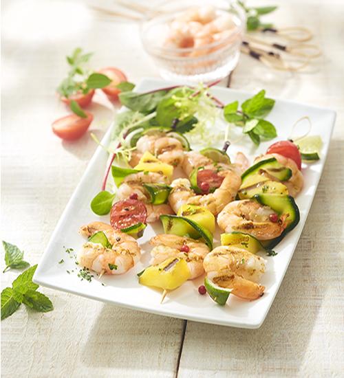 Garnelen-Spiesse mit Zucchini