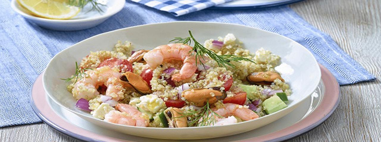 Quinoa Garnelen-Muschel Salat