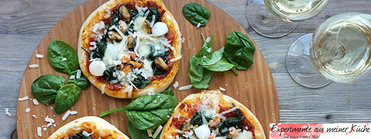 Mini-Pizzen mit Meeresfrüchten