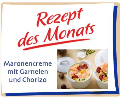 Maronencreme mit Garnelen und Chorizo