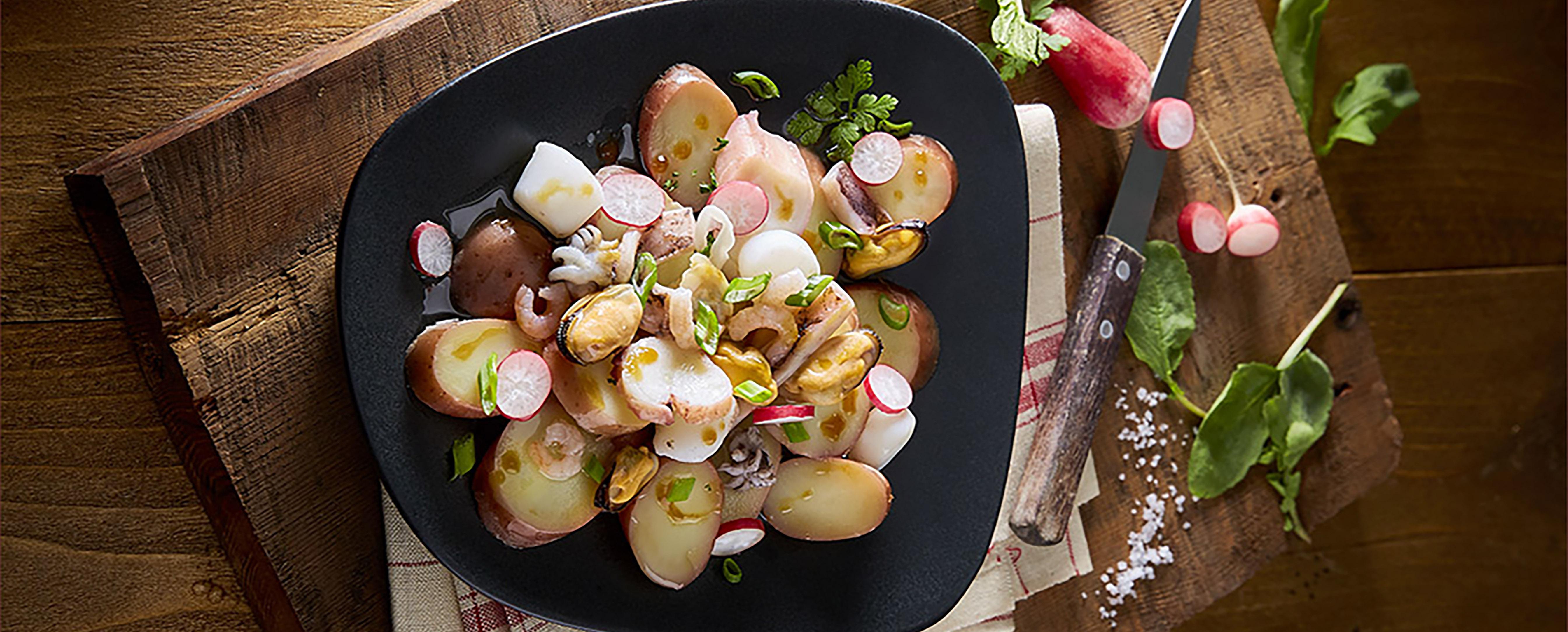 Warmer Kartoffel-Frutti-di-Mare-Salat