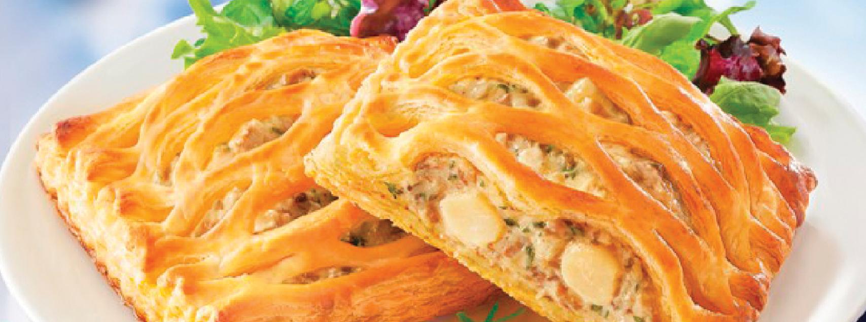Pasteten gefüllt mit Kammmuscheln