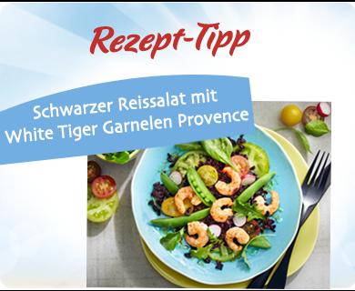 Schwarzer Reissalat mit White Tiger Garnelen Provence