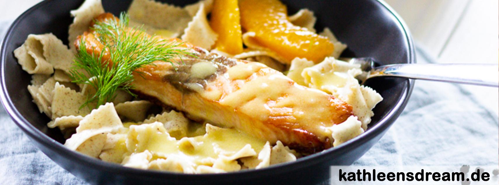 Pasta mit Lachs und Orangen-Fenchel-Soße