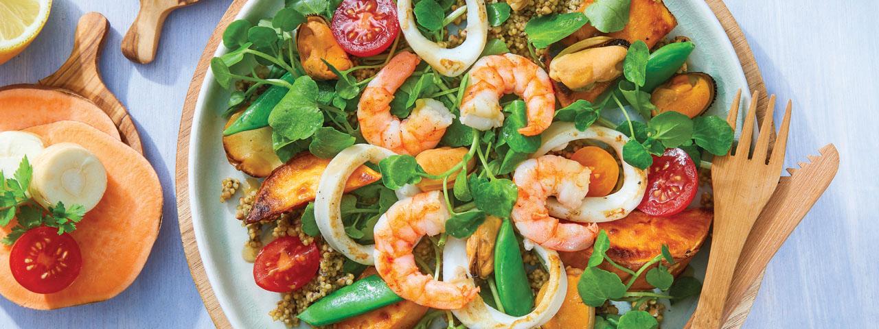 Meeresfrüchtesalat mit Wintergemüse und Senfvinaigrette
