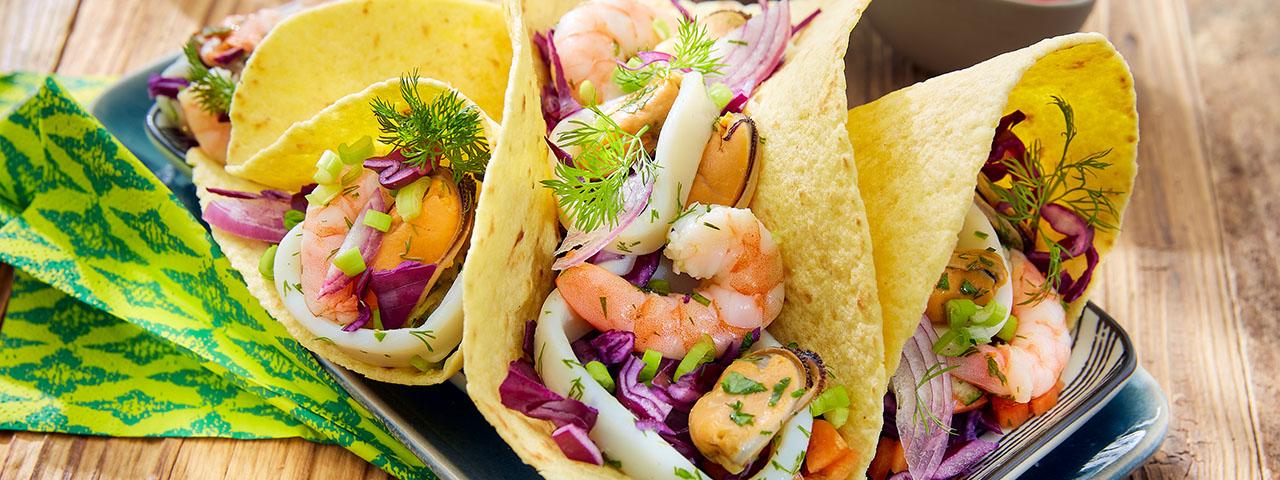 Tacos mit Meeresfrüchten
